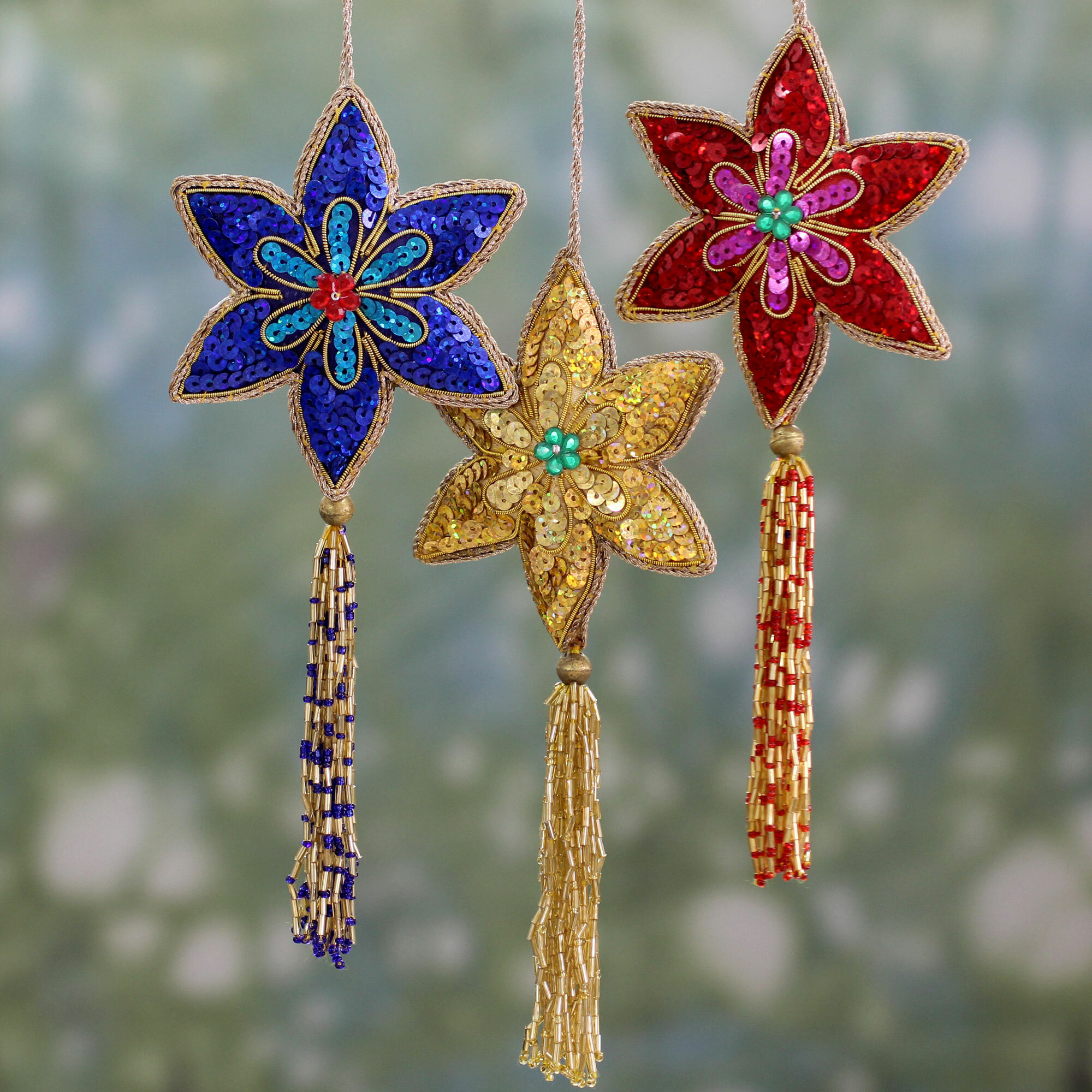 The Holiday Aisle Christmas Handmade Beaded Sequin Colorful Hanging Figurine Ornament Set Of 3 Wayfair