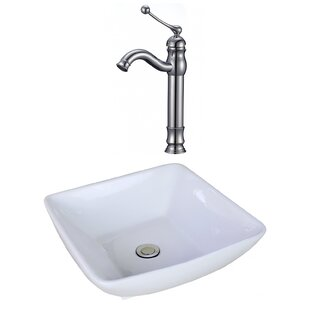 Great choice Ceramic Square Vessel Bathroom Sink with Faucet and Overflow By American Imaginations
