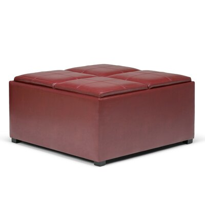 Agnon Storage Ottoman Upholstery Color: Faux Leather Radicchio Red by Alcott Hill
