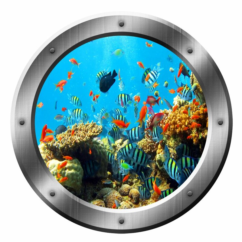Bay Isle Home Underwater Silver Porthole Window School Of Fish Scene Peel And Stick Removable Wall Decal Reviews Wayfair