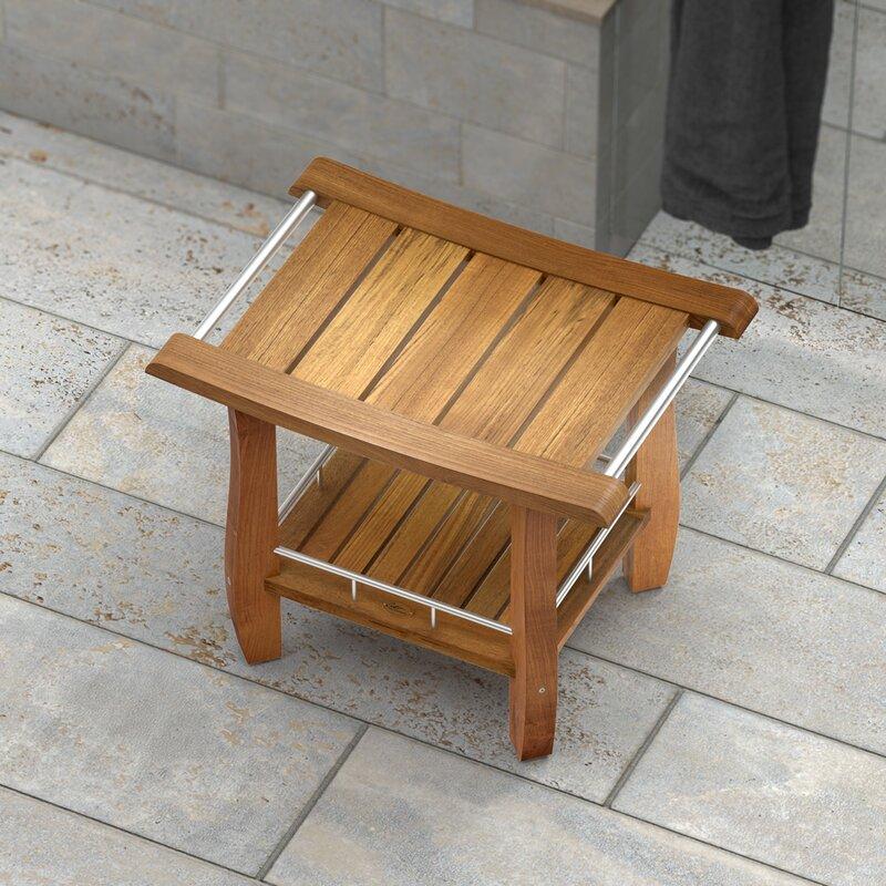 Gatco Teak Fully Assembled Rectangle Shower Seat   Wayfair