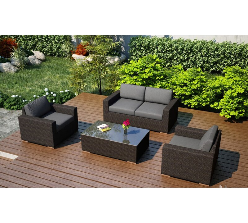 Rosecliff Heights Hodge 4 Piece Teak Sofa Set With Sunbrella Cushions Reviews Wayfair