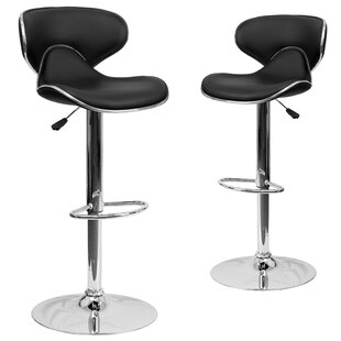 Preston Adjustable Height Swivel Bar Stool (Set of 2) Wrought Studio