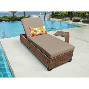 Medina Reclining Chaise Lounge with Cushion and Table