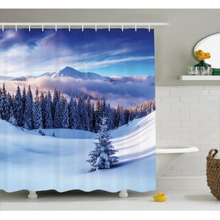 Jennings Surreal Winter Scenery With High Mountain Peaks and Snowy Pine Trees Shower Curtain ByWinston Porter