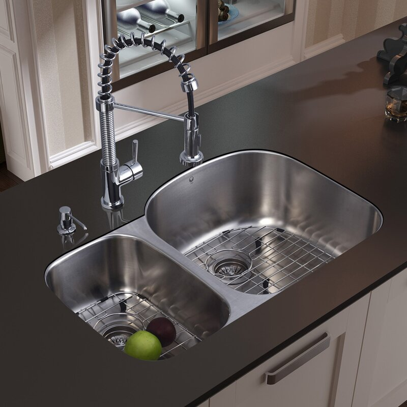 Attrayant VG15057 31 Inch Undermount 70/30 Double Bowl 18 Gauge Stainless Steel  Kitchen Sink With Edison Chrome Faucet, Two Grids, Two Strainers And Soap  Dispenser
