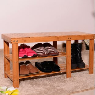 Compare prices Strip Pattern Tiers Bamboo 6 Pair Shoe Storage Bench By Rebrilliant