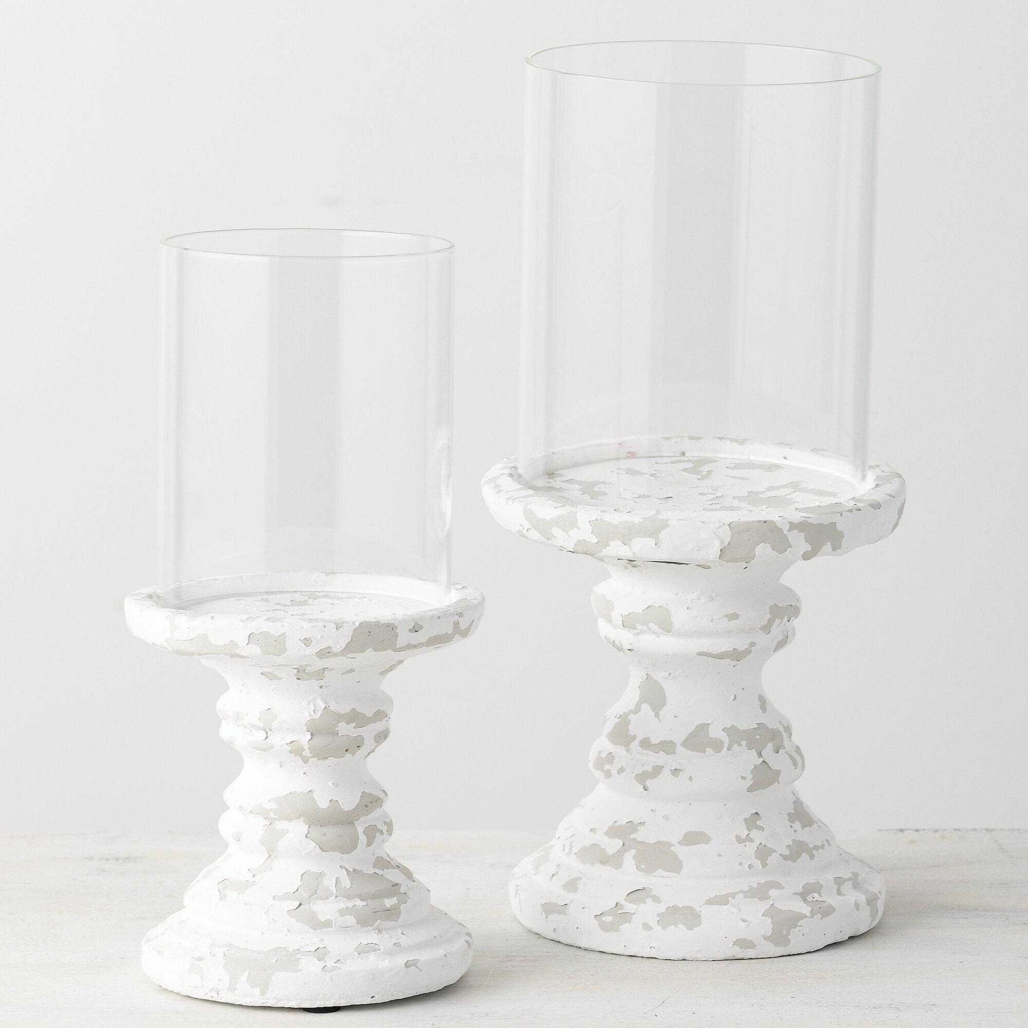 Gracie Oaks 2 Piece Glass Hurricane Set Wayfair