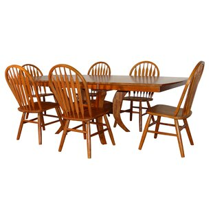 Newberry Shape Top 7 Piece Extendable Solid Wood Dining Set Canora Grey
