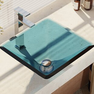 Affordable Glass Square Vessel Bathroom Sink with Faucet By René By Elkay