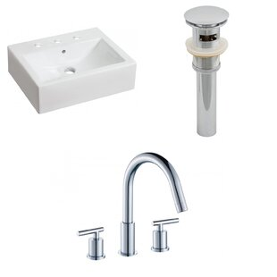 Best Price Ceramic Rectangular Bathroom Sink with Faucet and Overflow ByAmerican Imaginations