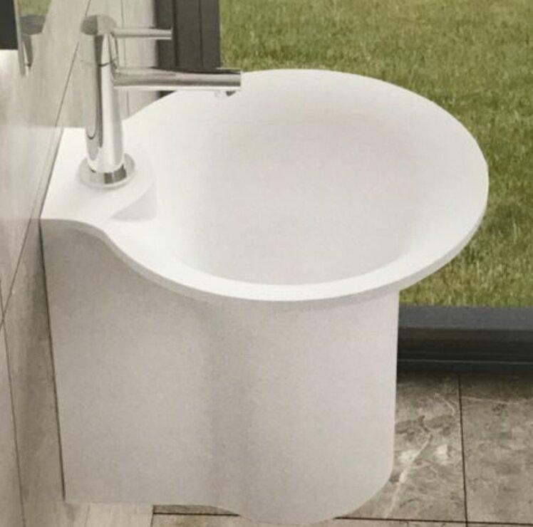 Bucket Stone 19 Semi Pedestal Bathroom Sink