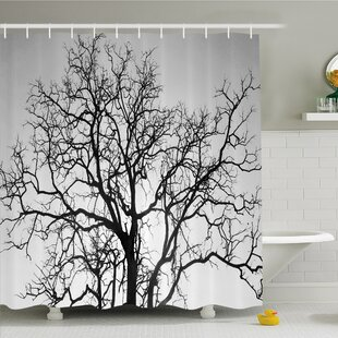 Forest Dead Old Branches Arms Limbs Sadness Symbol Tree of Life Offshoot Picture Shower Curtain Set by Ambesonne