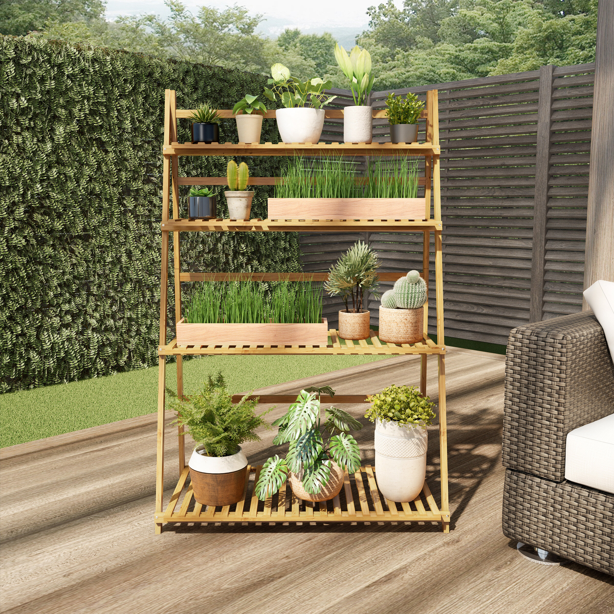 Symple Stuff Yvaine Rectangular Multi Tiered Plant Stand Reviews Wayfair