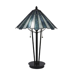 Affordable Price Zaniel 23.25  Ice Tiffany Glass Shade Table Lamp By Darby Home Co