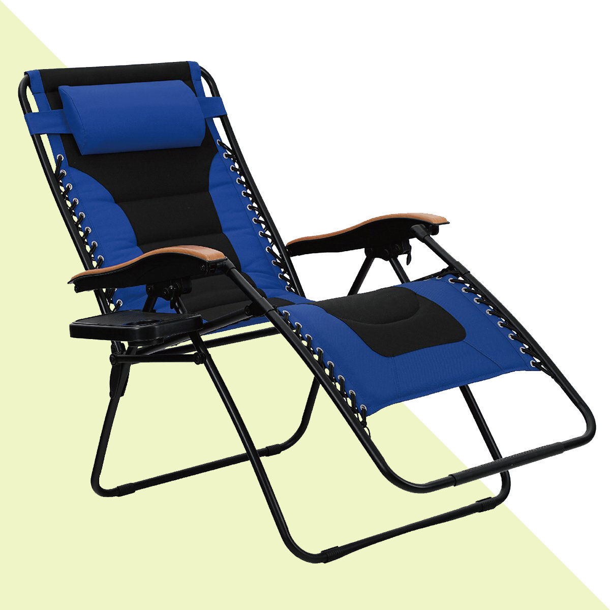 Load 200kg Length 180cm Black QYJ-Chairs Lounges Folding Lounge Chair Garden Chair Office Lunch Break Chair Simple Outdoor Beach Camping Chair with Pillow//Tray