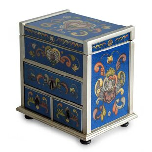 Price Check Hand-Crafted Reverse Painted Glass Wood Jewelry Box By Novica