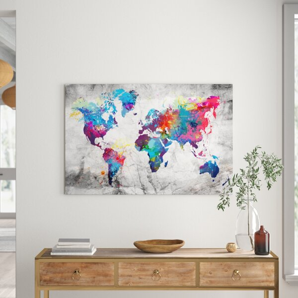 World Map All Countries Education Learning Wall Art Framed Canvas Pictures