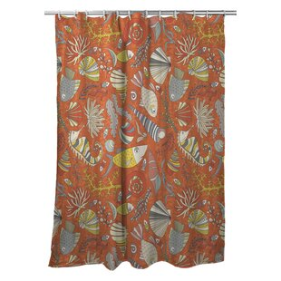 Poplar Sea Life Rust Single Shower Curtain