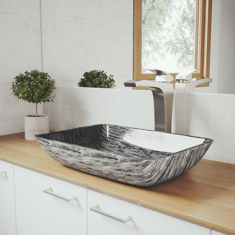 VIGO Tempered Glass Rectangular Vessel Bathroom Sink with Faucet ...