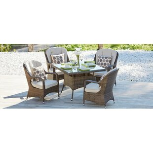 Stain 5 Piece Outdoor Dining Set with Cushions