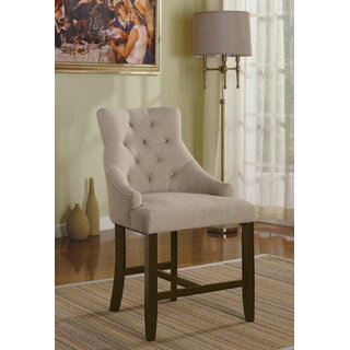 Furniture A2C80E06A5F3425AA7CAA765AF9ECFC6 Dining Chair, Cream Fabric & Walnut (Set of 2) by Winston Porter SKU:DE664509 Shop