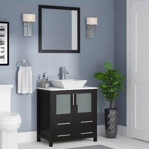 Karson Square 30″ Single Bathroom Vanity Set with Mirror
