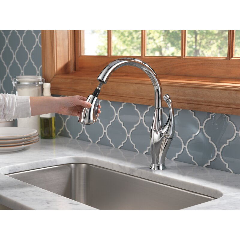 9192 Rb Dst Cz Dst Ar Dst Delta Addison Pull Down Single Handle Kitchen Faucet With Diamond Seal Technology And Magnatite Docking Reviews Wayfair