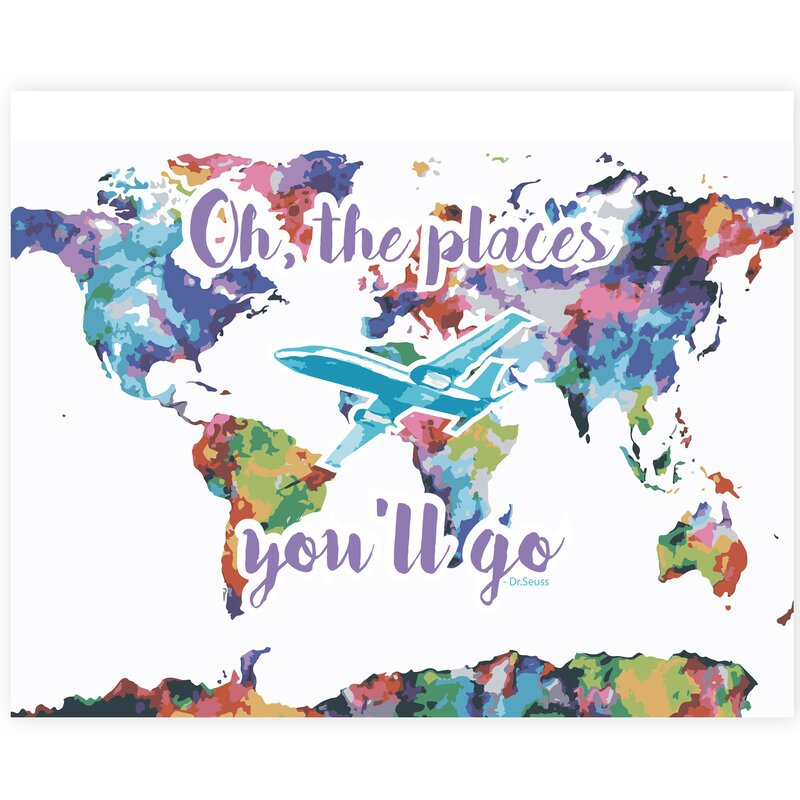 Children Inspire Design Oh The Places You'll Go Map Watercolor