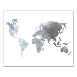 Watercolor world map wayfair grey watercolor world map print on canvas gumiabroncs Gallery