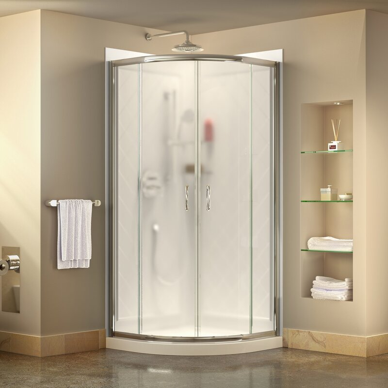 Dreamline Prime 33 X 7675 Round Sliding Shower Enclosure With
