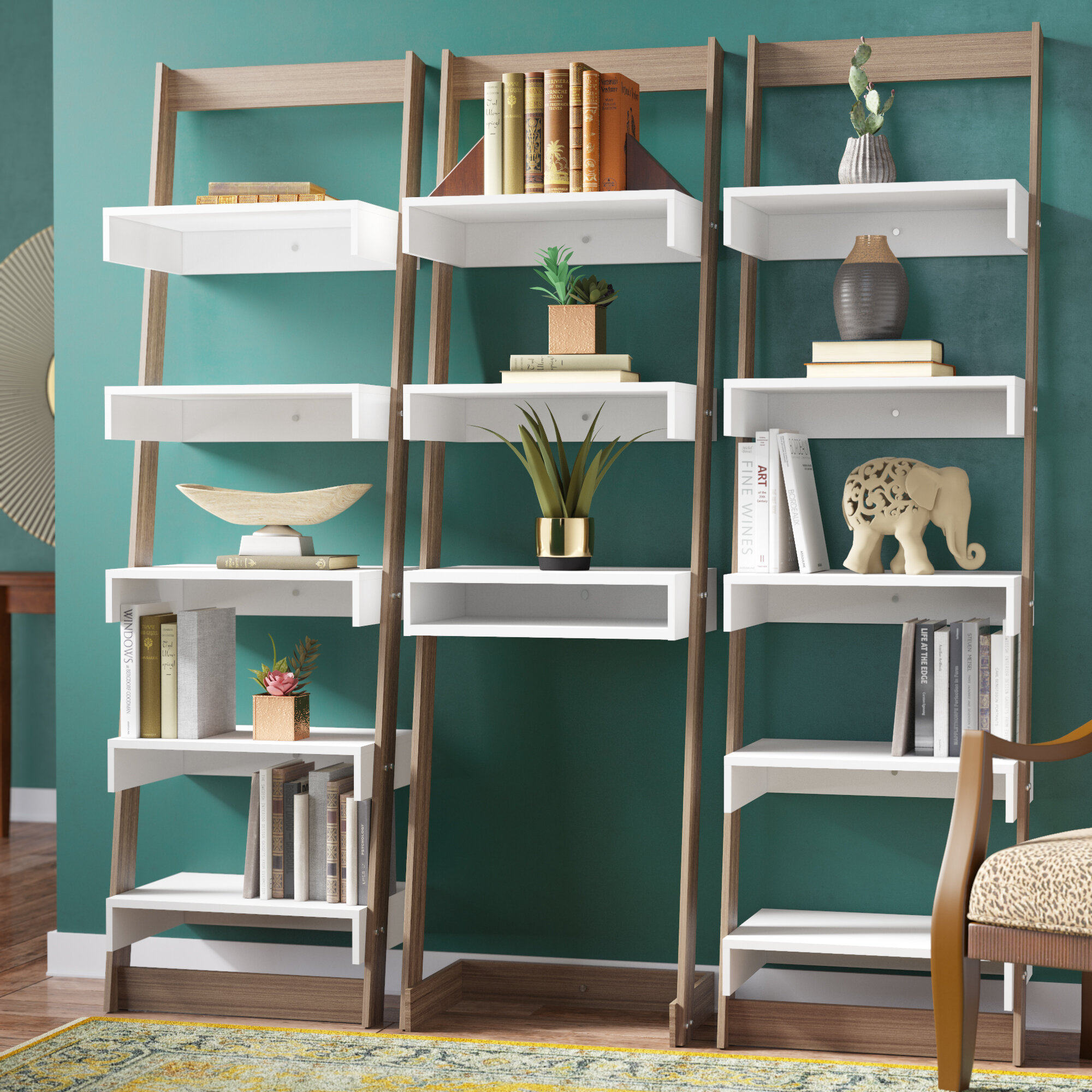 buy popular ae6bb f54d6 Modern Rustic Interiors Hayley Ladder Bookcase & Reviews ...