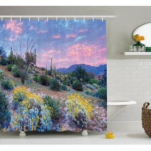 Autumn Cactus Sunset Shower Curtain + Hooks