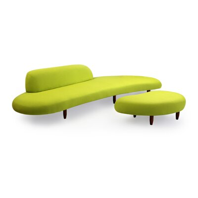 Brayden Studio Potvin Mid Century Modern Sofa and Ottoman Set Upholstery Color: Lime Green