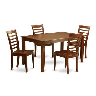 Dudley 5 Piece Solid Wood Dining Set Best #1
