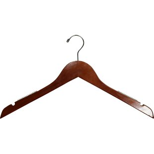 Affordable Price Wooden Top Non-Slip Hanger with Shoulder Grips (Set of 50) By Rebrilliant