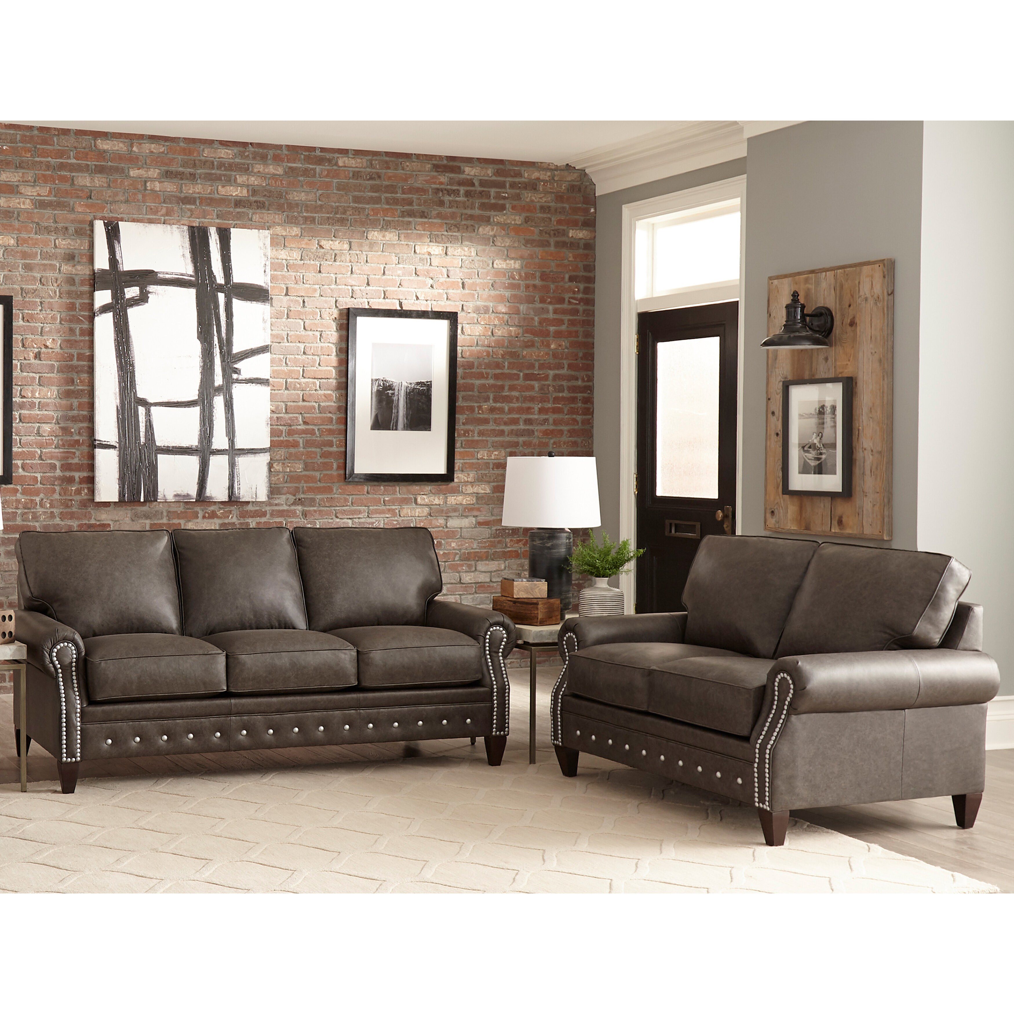 Jacey 10 Piece Leather Sleeper Living Room Set
