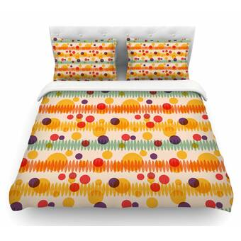 Kess InHouse Yenty Jap Bubble Stripes Fun Orange Geometric Round Beach Towel Blanket