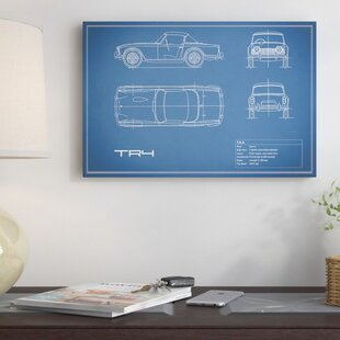 'Triumph TR4' Graphic Art Print on Canvas in Blue By East Urban Home