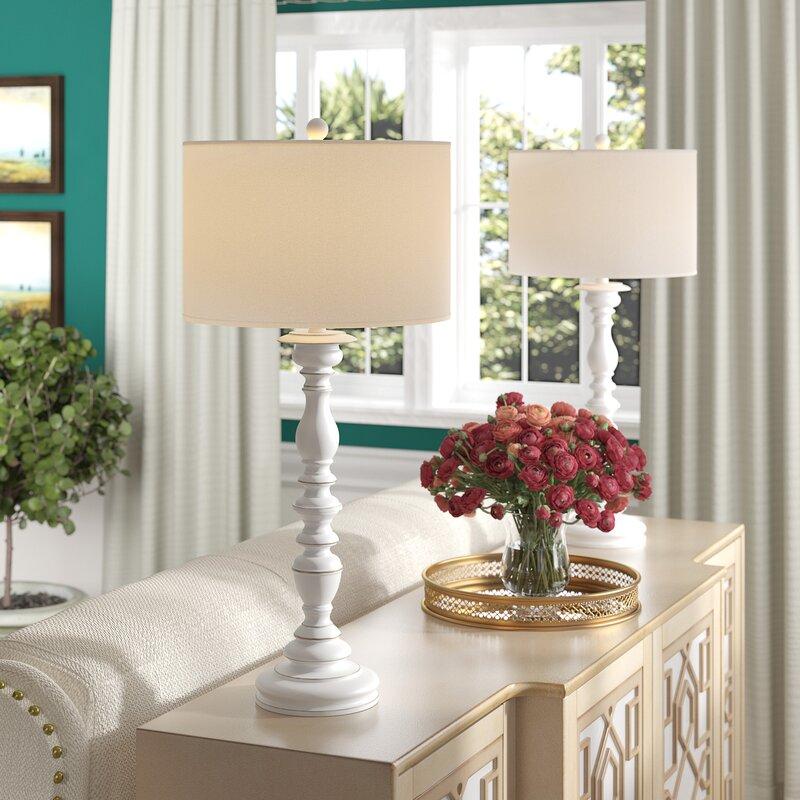 One Allium Way Biggerstaff 33 Cream Buffet Lamp Set Reviews Wayfair
