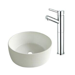 Ceramic Circular Vessel Bathroom Sink with Faucet ByKingston Brass
