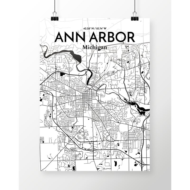 East Urban Home Ann Arbor City Map Unframed Graphic Art Print On Paper Wayfair Co Uk