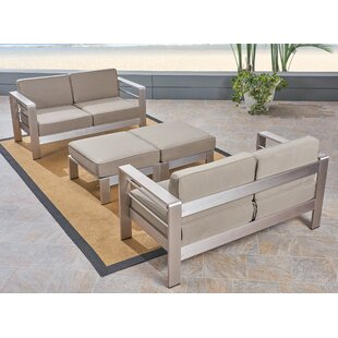 Cecil Outdoor 4-Seater Aluminum Loveseat and Ottoman Set