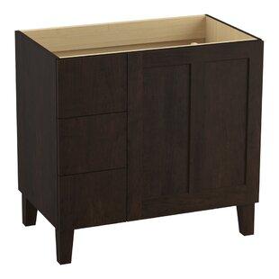 Poplin Tones 36 Vanity with Furniture Legs, 1 Door and 3 Drawers on Left