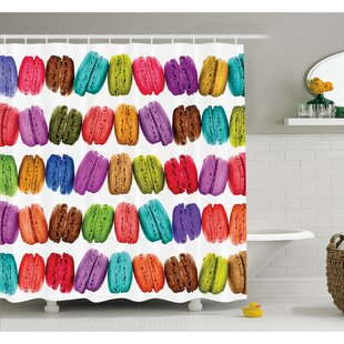 French Macarons in a Row Coffee Shop Cookies Flavors Pastry Bakery Design Shower Curtain Set
