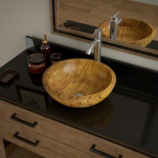 Bargain Bamboo Circular Vessel Bathroom Sink with Faucet By MR Direct