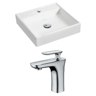 Best Price Ceramic 17.5 Wall Mount Bathroom Sink with Faucet By Royal Purple Bath Kitchen