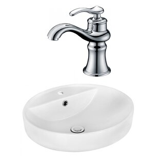 Price comparison Ceramic Circular Vessel Bathroom Sink with Faucet and Overflow By Royal Purple Bath Kitchen