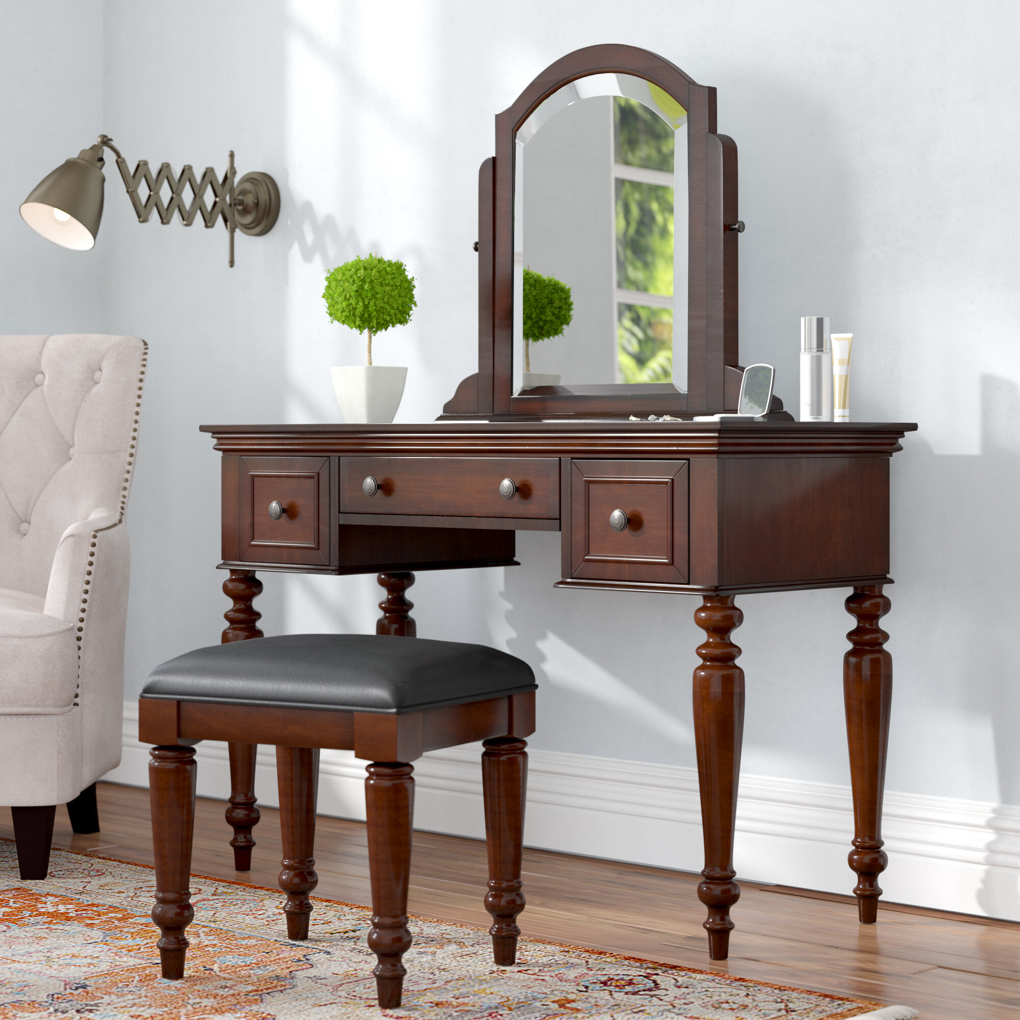 Astoria Grand Rossie Vanity Set With Stool And Mirror Reviews Wayfair