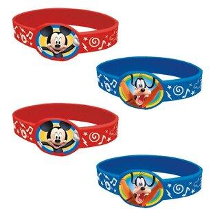 4 Piece Mickey Mouse Plastic/Paper Disposable Favor Bracelets Set